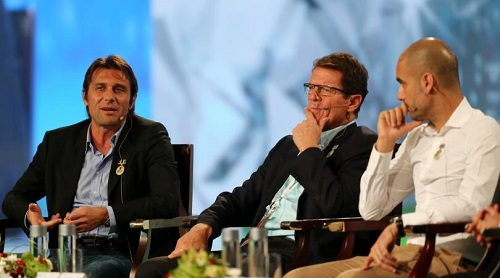 Antonio Conte con Fabio Capello e Pep Guardiola
