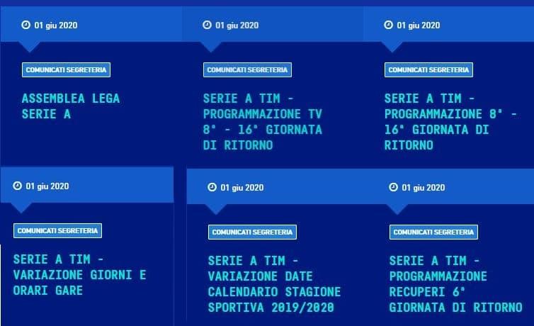 comunicati Lega Serie A